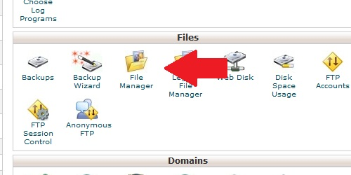 Open the File Manager page from within cPanel.